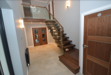 Ash with walnut finish stairs 1